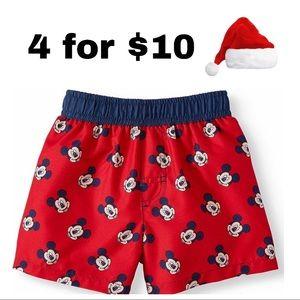 Infant Boys Disney Mickey Mouse Red Swim Trunk